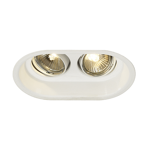 HORN 2 TURNO GU10 downlight, 2x50W, alu/steel, oval, white