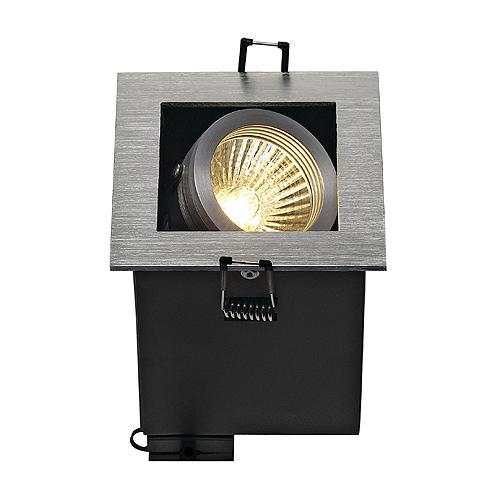 ALU BOX I GU10 downlight, square, alu brushed, max. 50W