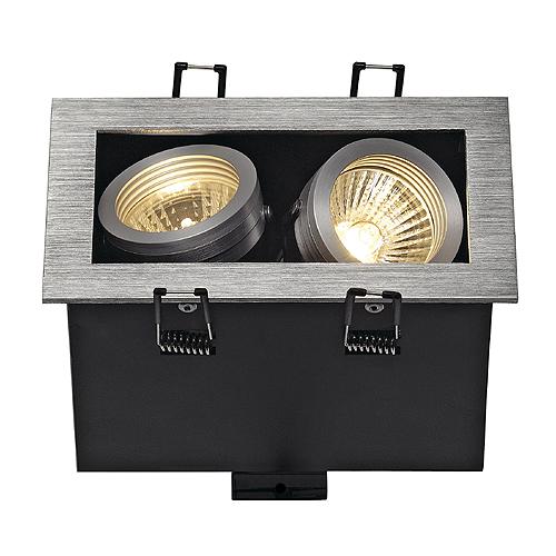 ALU BOX II GU10 downlight, square, alu brushed, max. 2x50W