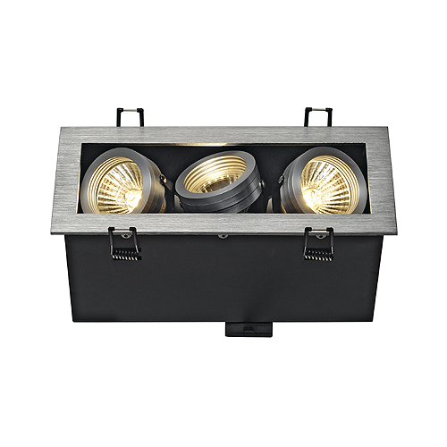ALU BOX III GU10 downlight, square, alu brushed, max. 3x50W