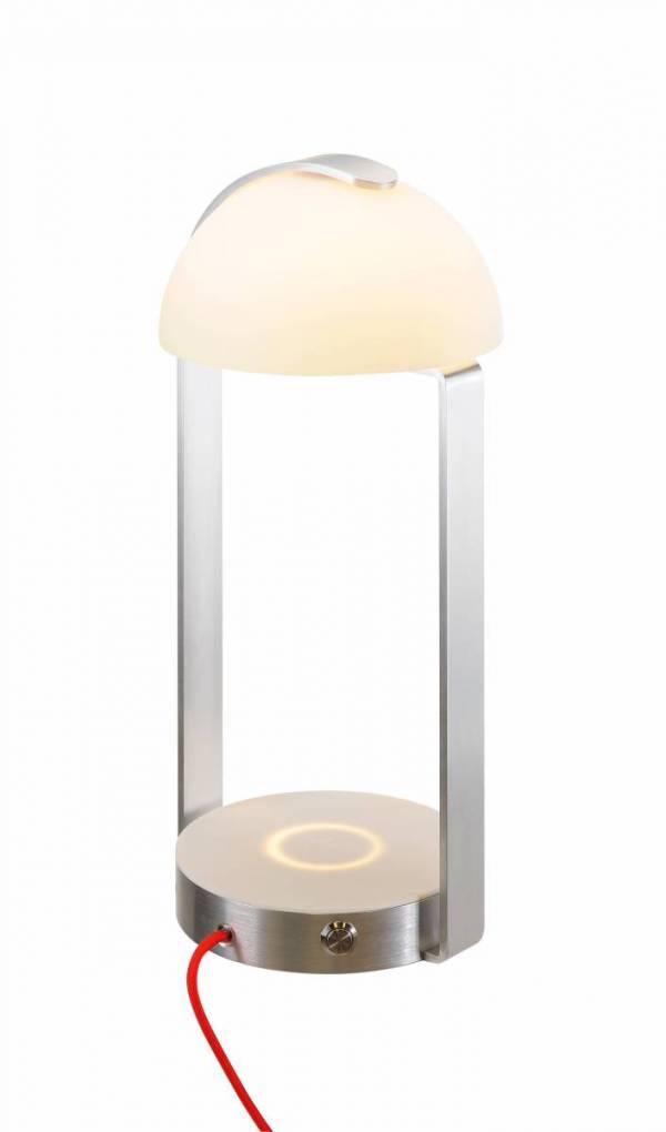 BRENDA, table lamp + WL USB, LED, white/ silver