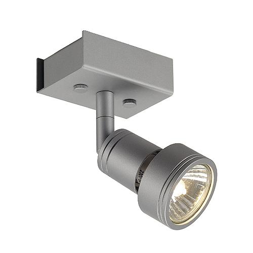 PURI 1 ceiling light, silvergrey, GU10, max. 50W