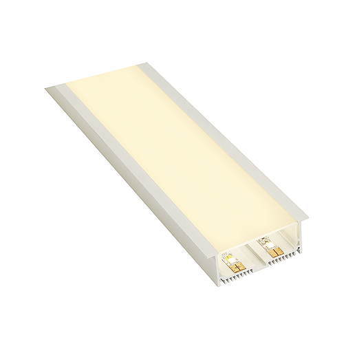GLENOS ALU RECESSED PROFILE with cover, matt white, 2m