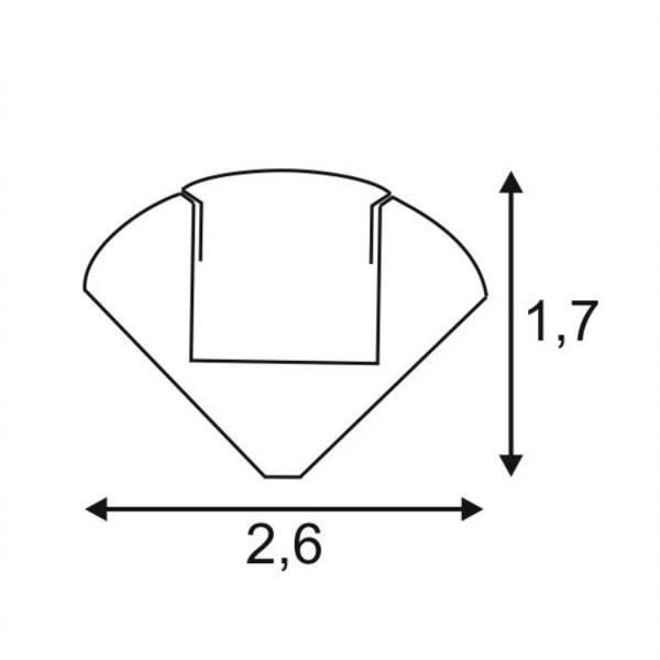 GLENOS corner profile 2720-200, 2m, alu anodized