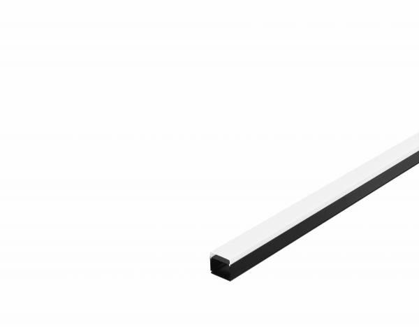 GLENOS industrial profile flat, matt black, 2m