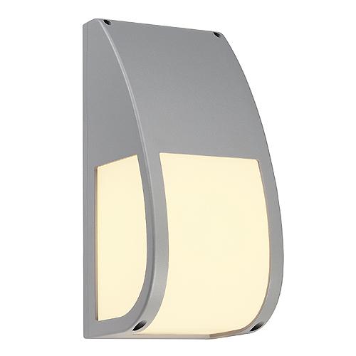 KERAS ELT wall lamp, E27 ESL, max. 25W, IP54, silvergrey