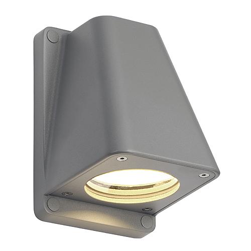 WALLYX GU10 wall lamp, max. 50W, IP44, silvergrey