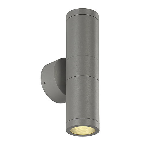 ASTINA OUT ESL wall lamp, GU10, max. 2x11W, IP44, silvergrey