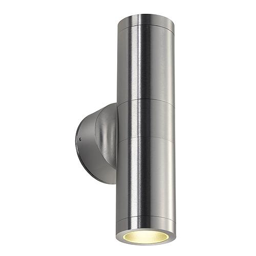 ASTINA OUT ESL wall lamp, GU10, max.2x11W, IP44, brushed Alu