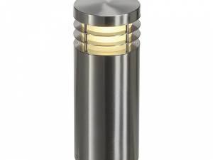 VAP 40 floor lamp, E27, max. 23W, IP44, round, stainl steel