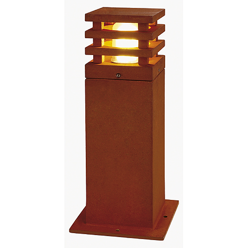 RUSTY SQUARE 40 outdoor lamp, E27 max.11W, IP55, rusted iron