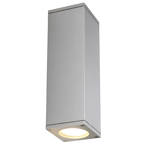 THEO UP/DOWN OUT wall l., GU10 max.2x35W, square, silvergrey