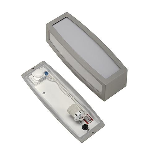 MERIDIAN BOX wall lamp, E27, max. 20W, sensor, silvergrey