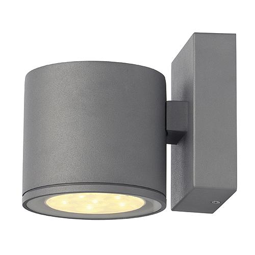 SITRA LED wall lamp, 6x1W, 3000K, IP44, round, silvergrey