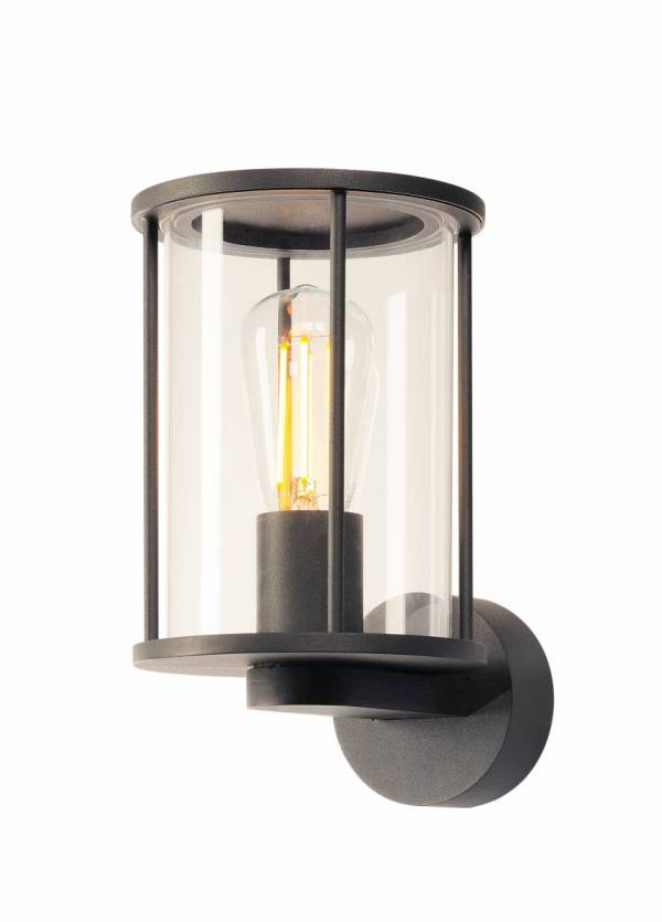 PHOTONIA wall light, round, anthracite, clear glass