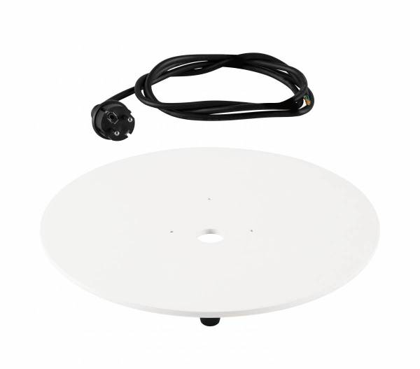 MOUNTING PLATE, outdoor, white, with black cable