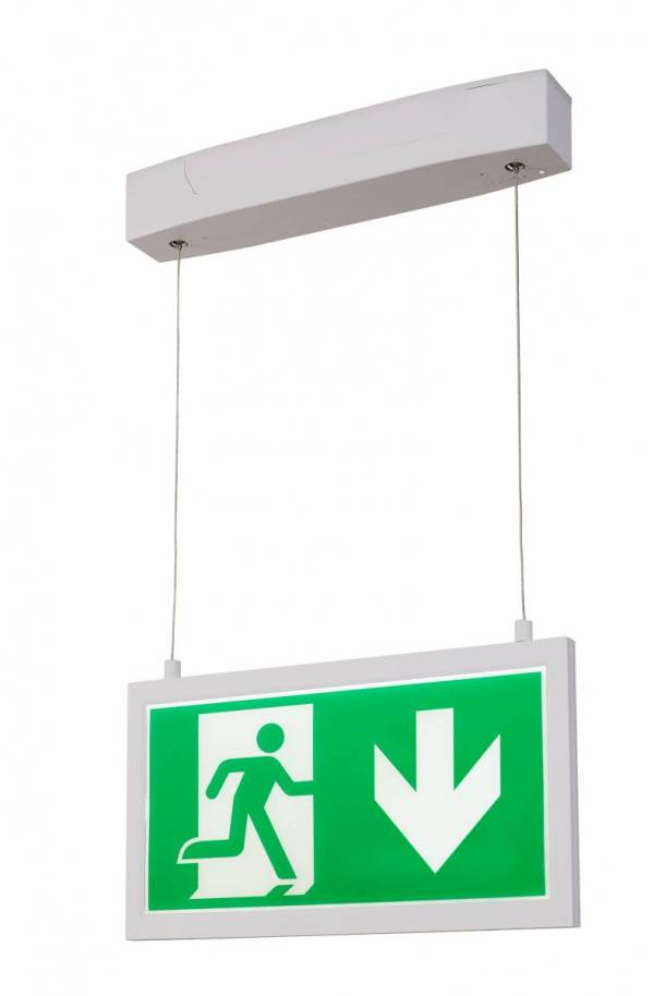 P-LIGHT Emergency Exit sign big pendant, white