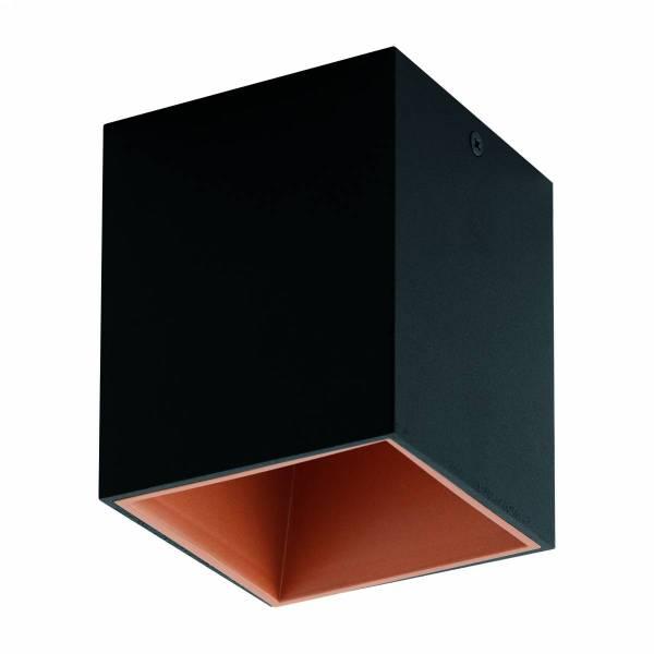"Ceiling light ""Polasso"" square 35W black / copperIP20"