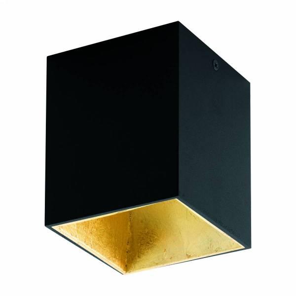 "Ceiling light ""Polasso"" square 35W black / gold IP20"
