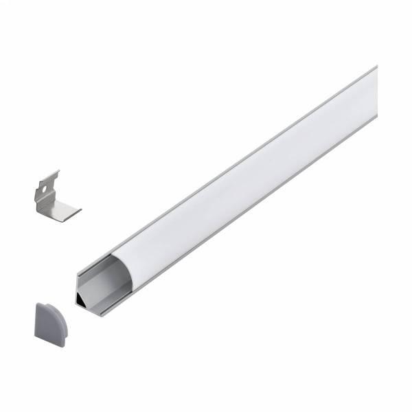 LED-Stripe Corner Profile with opal semicircular cover