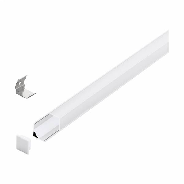 LED-Stripe Corner Profile semi-transparent cover wh 3000mm