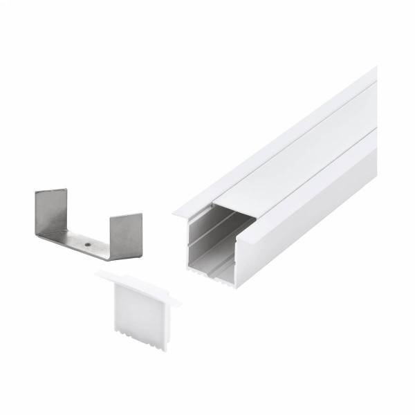 LED-Stripe Profile recessed with opal Cover white 3000mm