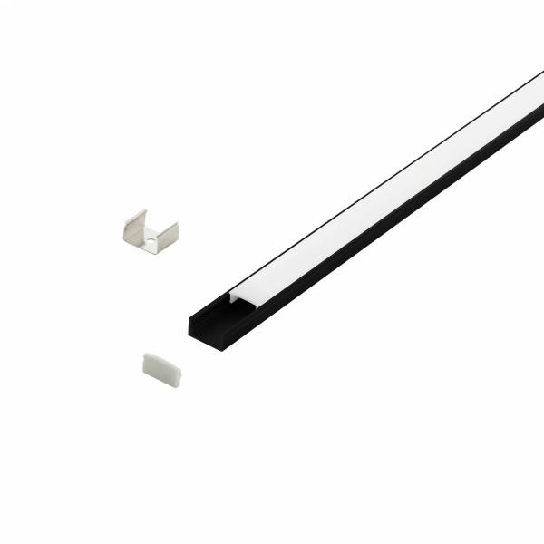LED-Stripe Profile surface with opal Cover black 1000mm