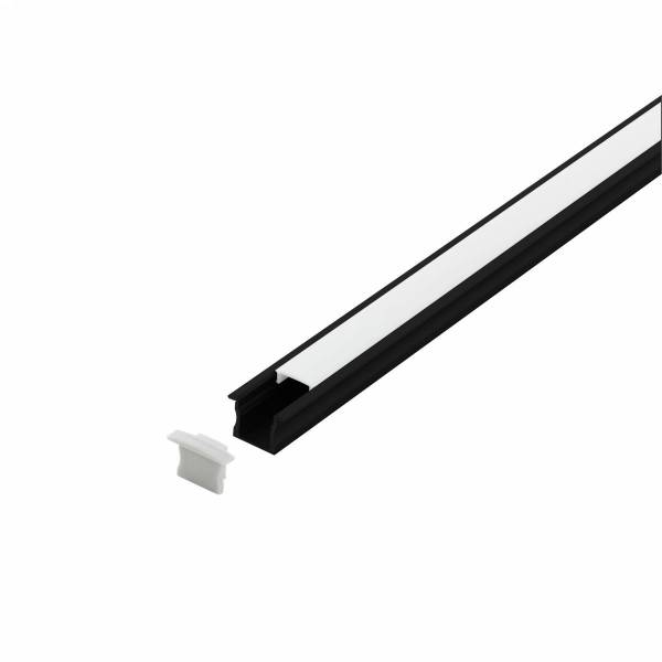 LED-Stripe Profile recessed with opal Cover black 2000mm