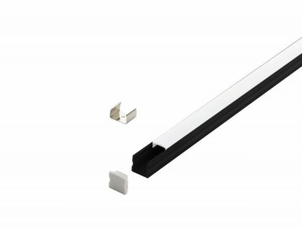 LED-Stripe Profile surface 17,2x15,5mm, opal Cover black 2m