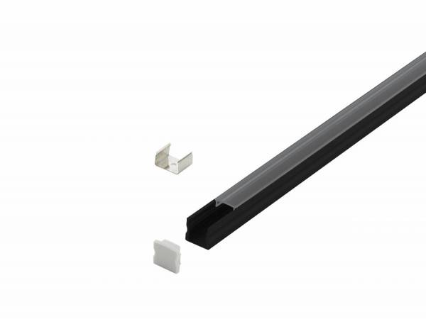 LED-Stripe Profile surface with Clear Cover black 2000mm
