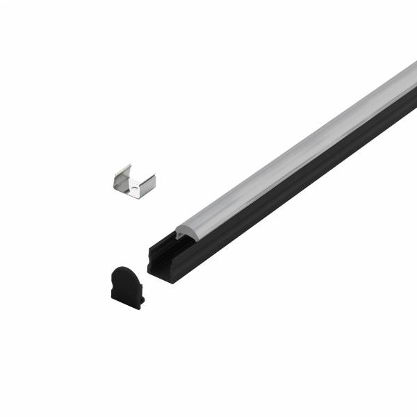 LED-Stripe Profile surface with 30° linear lens black 3000mm