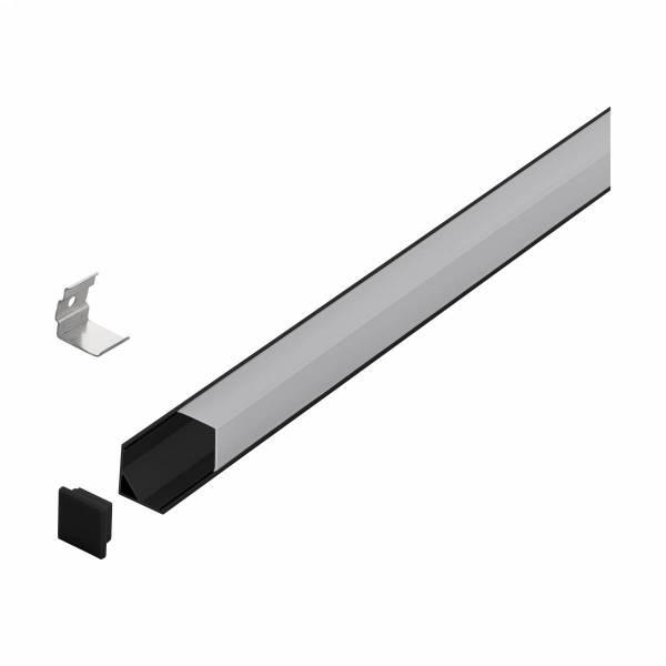 LED-Stripe Corner Profile, semi-transparent cover bk 3000mm