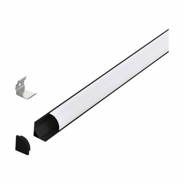 LED-Stripe Corner Profile, opal semicircular cover bk 2000mm