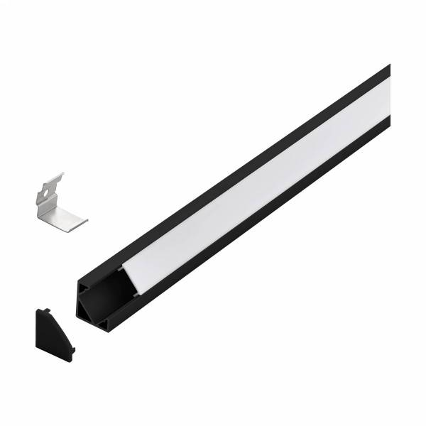 LED-Stripe Corner Profile with opal Cover black IP20 2000mm