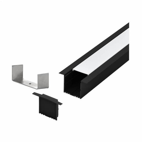 LED-Stripe Profile recessed with opal Cover black 3000mm