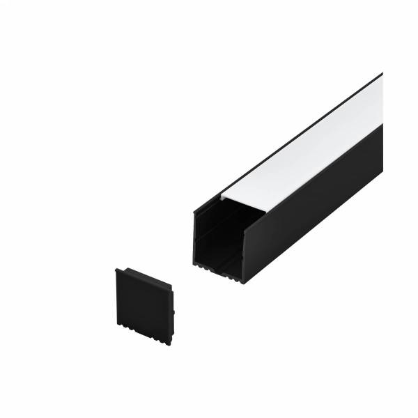 LED-Stripe Profile surface with opal Cover black IP20 1000mm