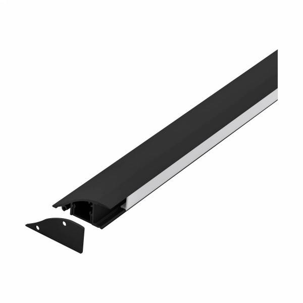 LED-Stripe wall surface Profile with opal Cover black 2000mm