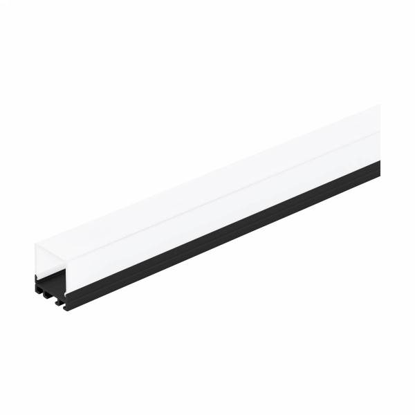 LED-Stripe Profile surface with opal Cover black IP20 3000mm