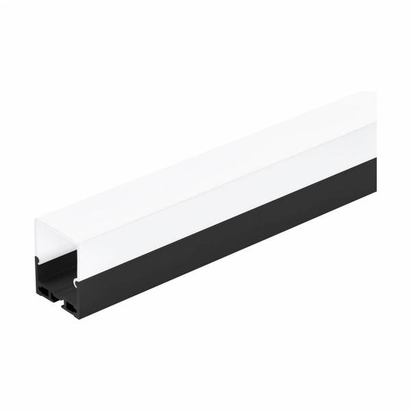 LED-Stripe Profile surface with opal Cover black IP20 2000mm