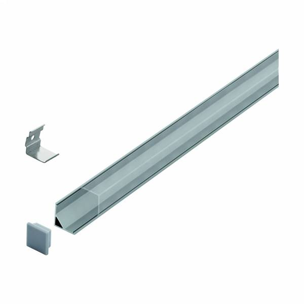LED-Stripe Corner Profile, Clear cover, anodized, 1000mm
