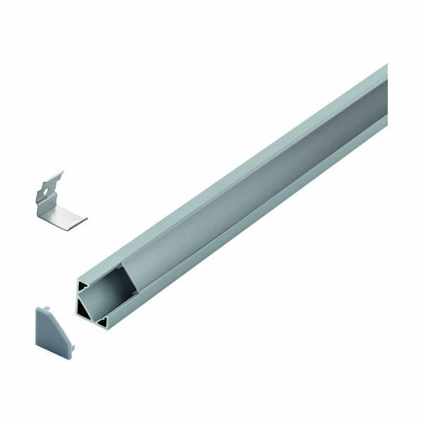 LED-Stripe Corner Profile satin cover, anodized, 2000mm