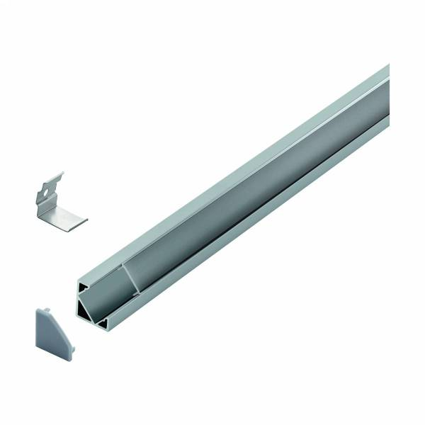 LED-Stripe Corner Profile Clear cover, anodized, 1000mm