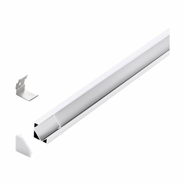 LED-Stripe Corner Profile Clear Cover white, 2000mm