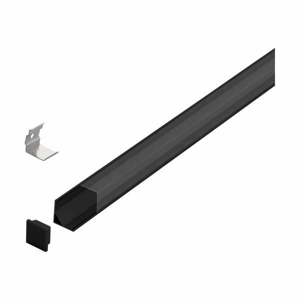 LED-Stripe Corner Profile Clear Cover black, 2000mm