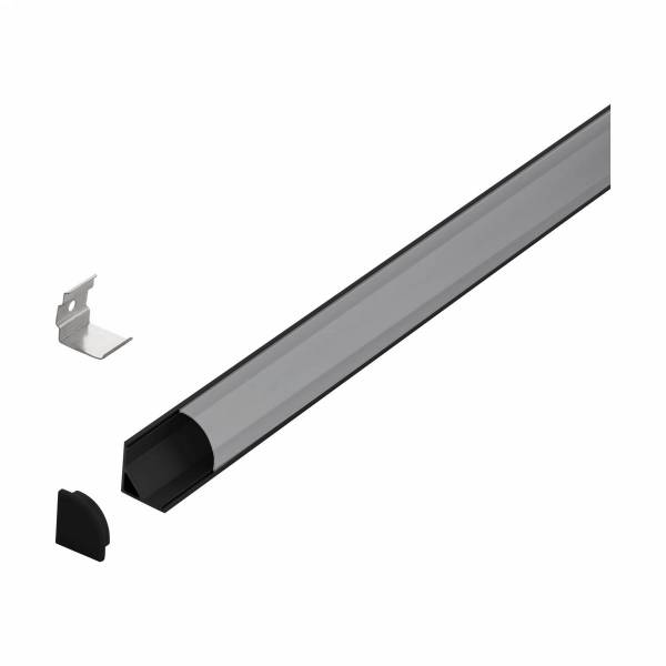 LED-Stripe Corner Profile semicircular satin cover, 2000mm