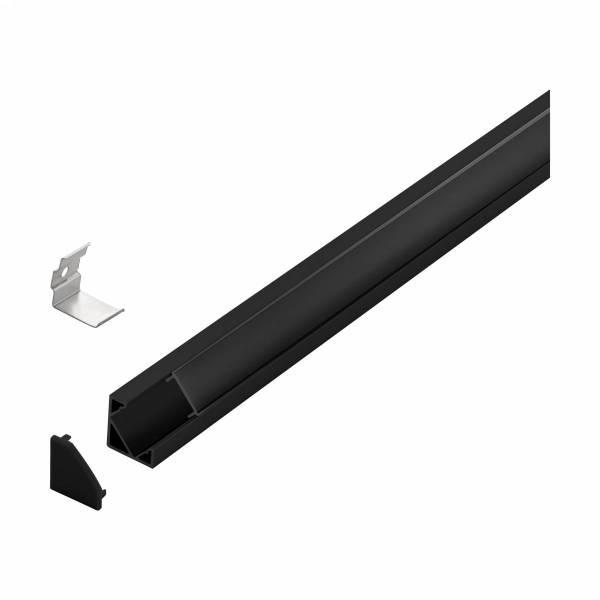 LED-Stripe Corner Profile Clear Cover black, 1000mm