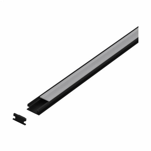 LED-Stripe Floor recessed Profile, satin Cover black, 2000mm