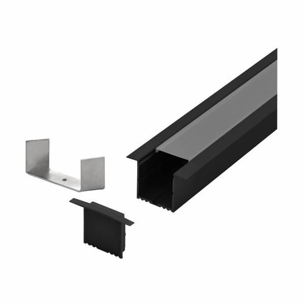 LED-Stripe Profile RE satin Cover black, 3000mm