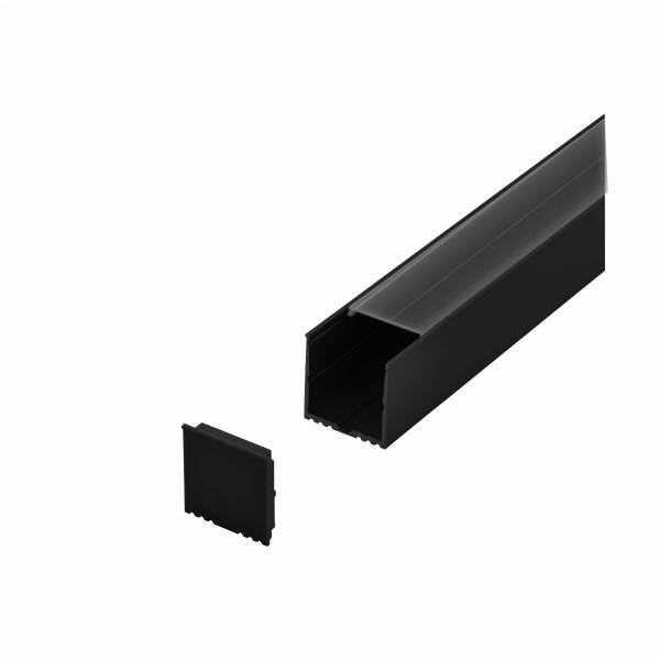 LED-Stripe Profile RE Clear Cover black, 2000mm
