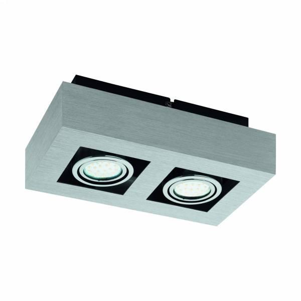 "surface luminaire ""Loke 1"" 2x5W 3000K aluminium brushed IP20"